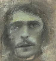 "Eugène Delacroix, Pastel over printed etching on paper, mounted on museum board, 8"" x 7 1:2"", 2019"