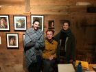 Intern Francis Brunell, Gallery Assistant Brian Guerin, and Kings Oaks co-curator Clara Weishahn.