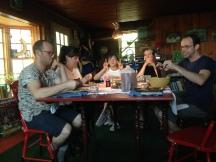 Lunch break: Ron Prigat, Andrea Magnusdottir, Katerina Pak, Brian Guerin, and Alex Cohen