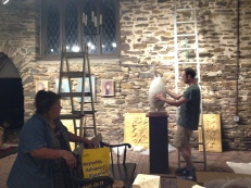 Installing Wells Vissar's scagliola egg sculptures, with Kathy Vissar