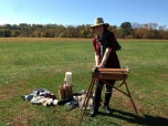 Lauren Kindle setting up her easel
