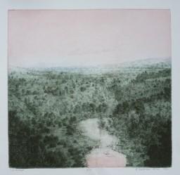 "Landscape, Gillian Pederson-Krag, Etching, AP, 10.75"" x 10.5"", 1990"