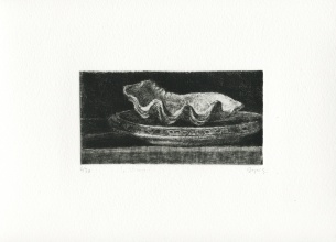 """The Shell"", François Dupuis, Etching, 5.9"" x 3,"" 2020"